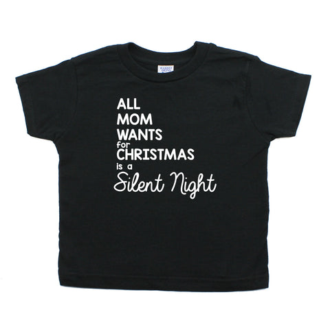 All Mom Wants for Christmas Is A Silent Night Long Sleeve Baby Infant Bodysuit