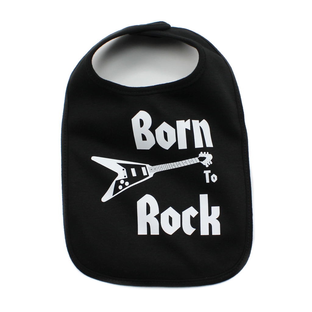 Born to Rock Band-Guitar Unisex Newborn Baby Soft Cotton Bib