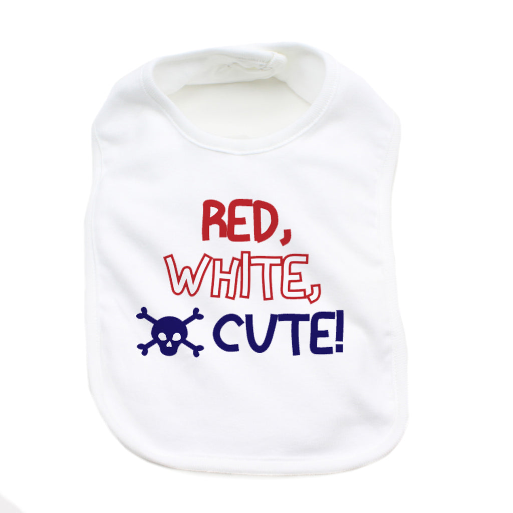 Red, White and Cute 4th of July Unisex Newborn Baby Soft Cotton Bib