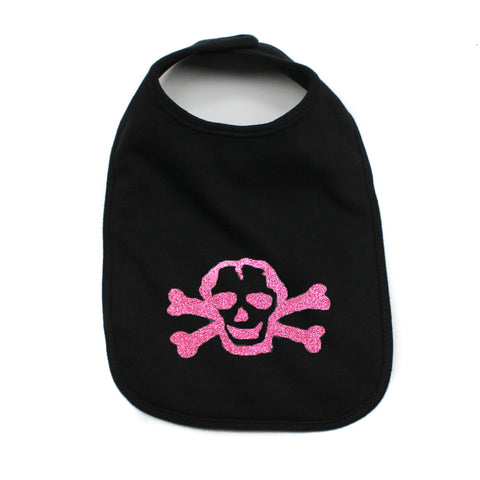 Pink Shiny Glitter Scribble Skull Newborn Baby Soft Cotton Bib