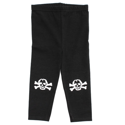 White Scribble Skull Infant Cotton Jersey Leggings, Black