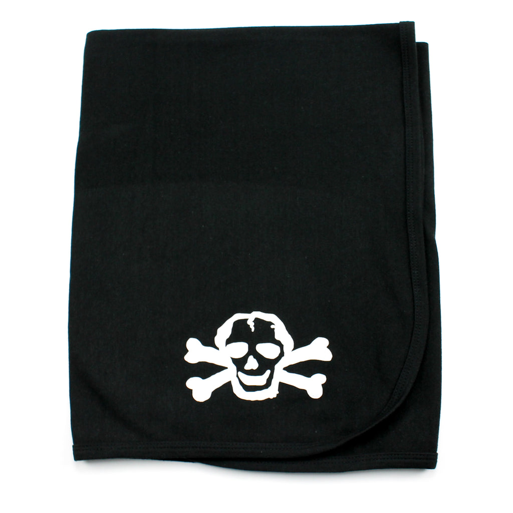 Black Cotton Receiving Blanket with White Scribble Skull