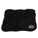 Pink Scribble Skull Black Cotton Swaddling Receiving Blanket