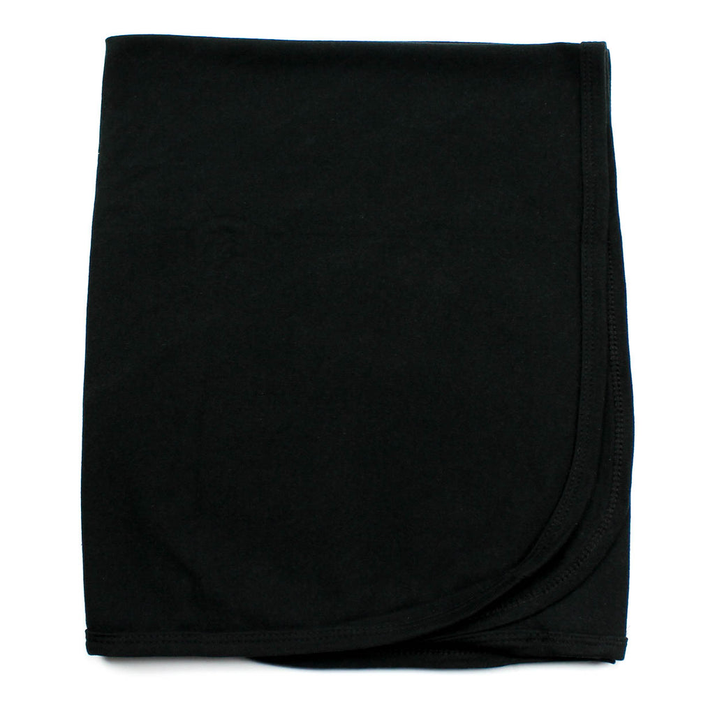 Black Soft Cotton Swaddling Receiving Blanket