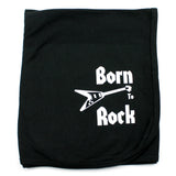 Born To Rock on Black Cotton Receiving Blanket