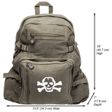 Scribble Skull Heavyweight Canvas Backpack Bag