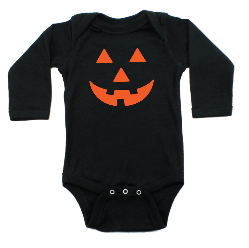 Halloween Pumpkin Face Long Sleeve Bodysuit
