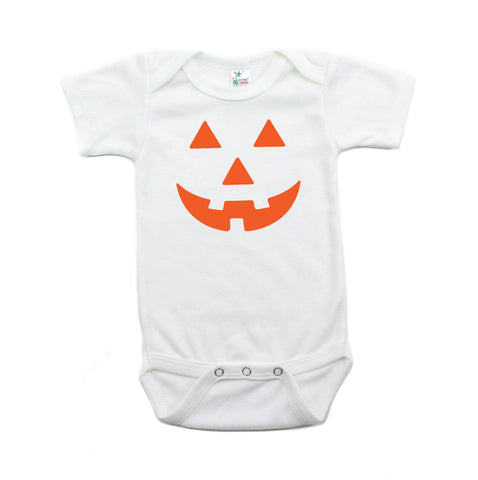 Halloween Pumpkin Face Short Sleeve Bodysuit