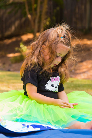Two-tone Reversible Green & Turquoise Toddler Tutu, 2 - 6 Year