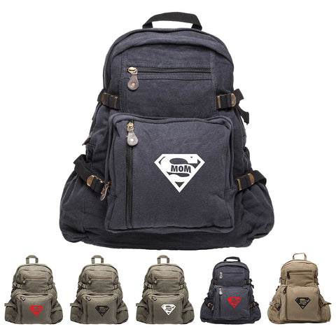 Super Mom Army Sport Heavyweight Canvas Backpack Bag