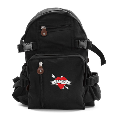 Heart Mom Tattoo Love Army Sport Heavyweight Canvas Backpack Bag