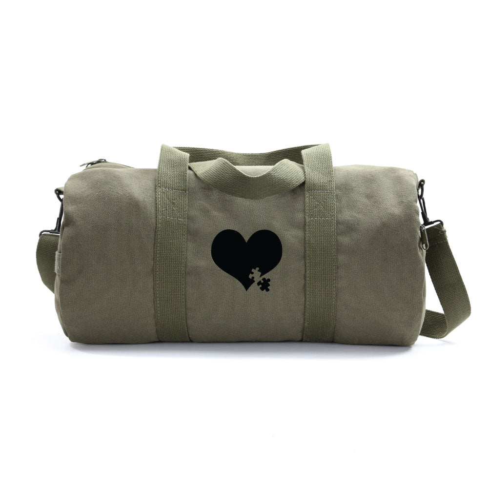 Autism Awareness Heart Puzzle Army Sport Heavyweight Canvas Duffel Bag