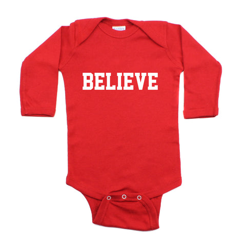 Christmas Believe Word Long Sleeve Infant Bodysuit