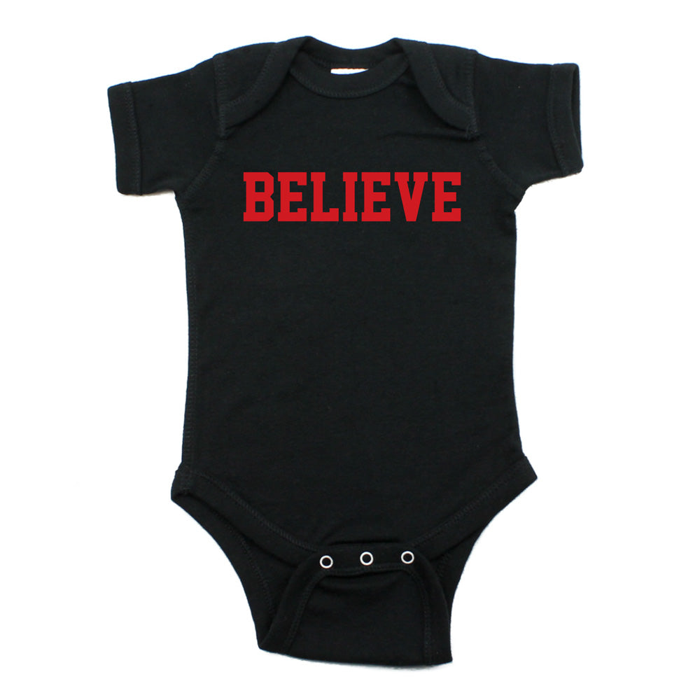 ChristmasBelieve Word Short Sleeve Infant Bodysuit