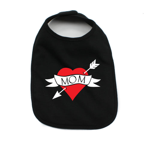 I Love Heart Mom Tattoo Rock Unisex Baby Soft Cotton Bib