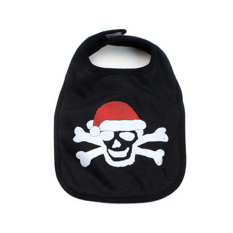 Skull Santa Hat Crossbone Christmas Unisex Baby Soft Cotton Bib