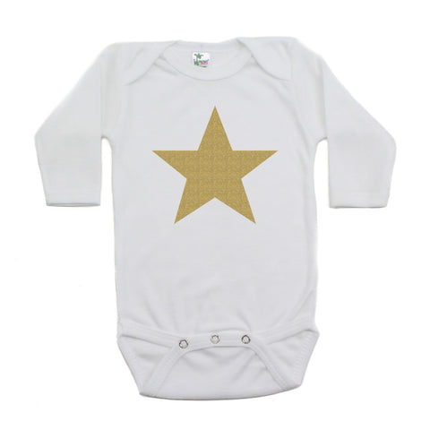 Christmas Big Gold Glitter, Black, And White Star Long Sleeve Infant Bodysuit