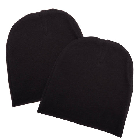 Infant Baby 100% Cotton Knit Beanie Cap Hat Same Color - Pack of 2