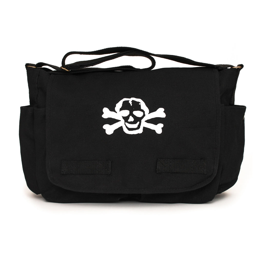 Canvas Carry All Diaper Baby Bag with Scribble Skull, By Crazy Baby Clothing