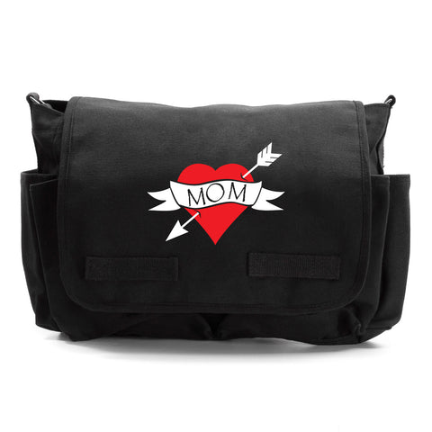 Heart Mom Tattoo love Army Heavyweight Canvas Messenger/Diaper Shoulder Bag
