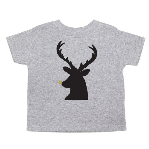 Christmas Black Reindeer with Glitter Nose Toddler Short Sleeve T-Shirts