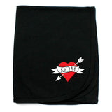 Love Mom Tattoo Black Cotton Swaddling Receiving Blanket