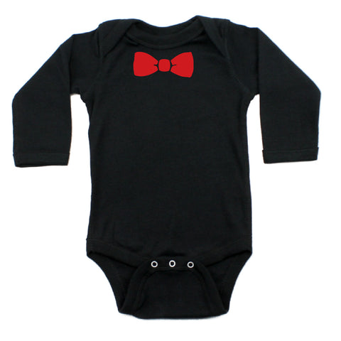 Christmas Red Bow Tie Long Sleeve Infant Bodysuit