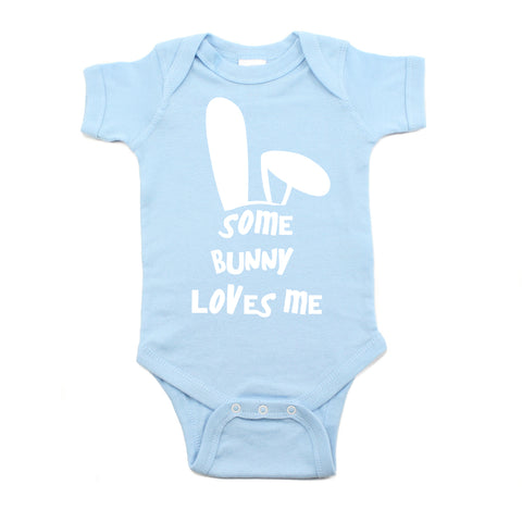 Easter Some Bunny Loves Me Short Sleeve Baby Infant Bodysuit