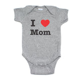 Mother's Day I Heart Love Mom Short Sleeve Baby Infant Bodysuit