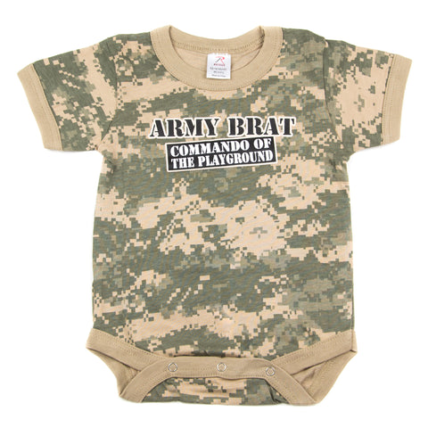 Army Brat Digital Camo Soldier Short Sleeve Baby Infant Bodysuit