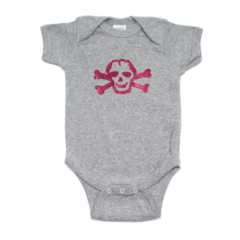 Pink Glitter Scribble Skull Short Sleeve Baby Infant Bodysuit