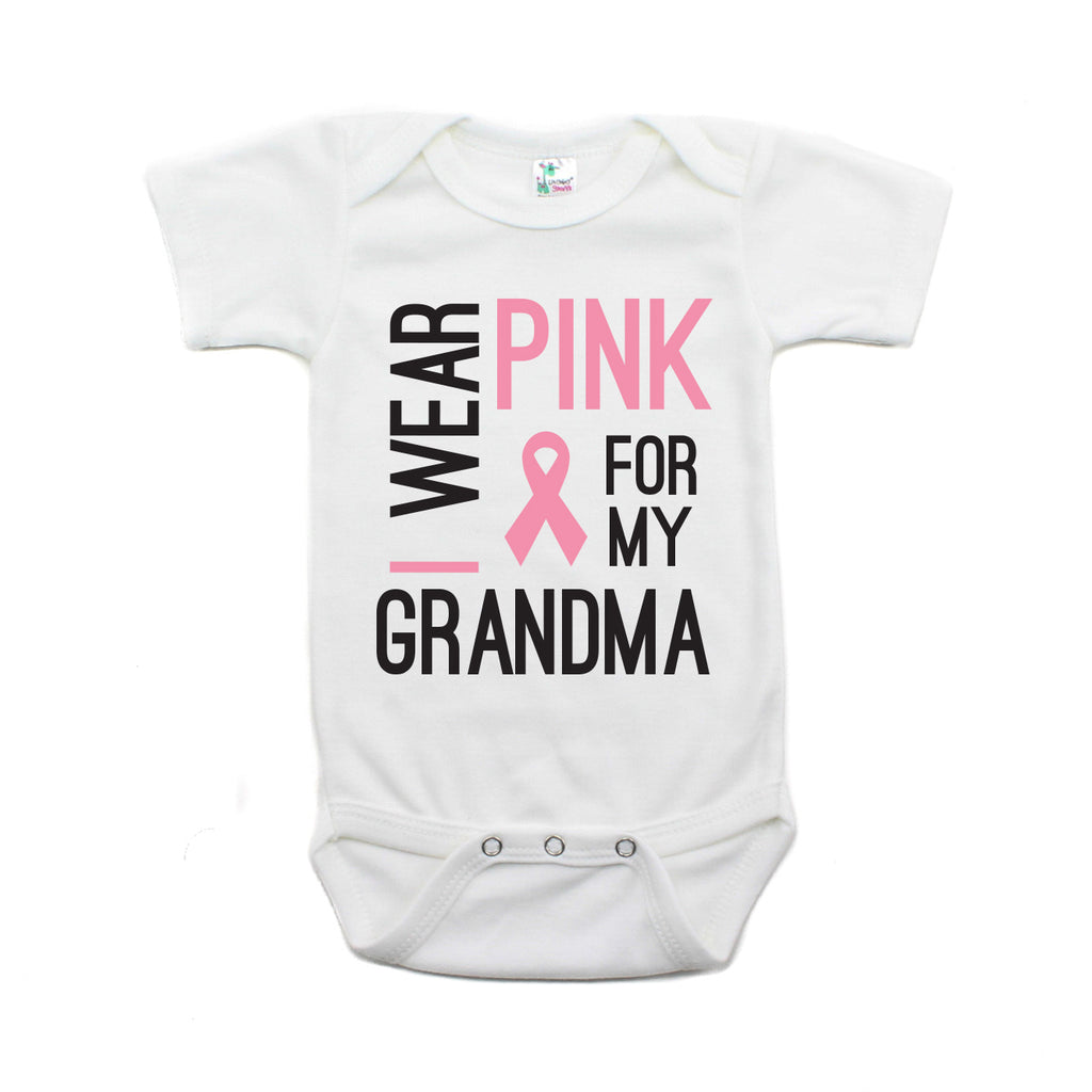 Breast Cancer Awareness I Wear Pink For My Grandma Short Sleeve Infant Bodysuit