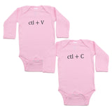 Black Copy (Ctl + C) / Paste (Ctl + V) Twin Set Long Sleeve Baby Infant Bodysuits
