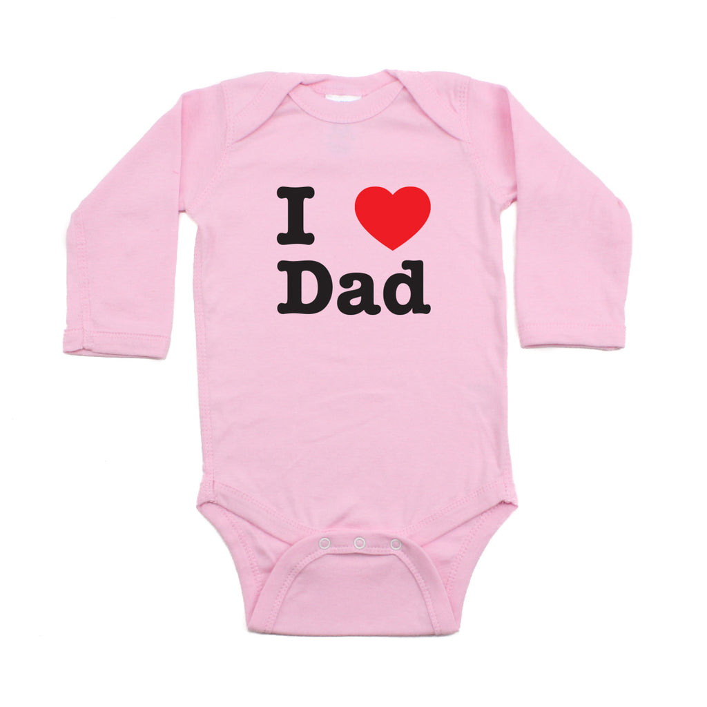 Father's Day I Heart Love Dad Long Sleeve Baby Infant Bodysuit