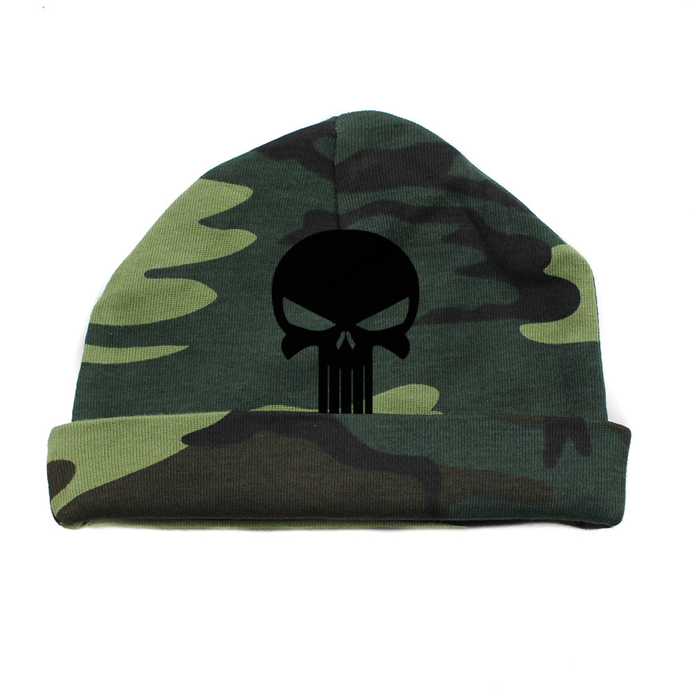 df5e3b8b2 Black Punisher Skull Infant Baby Beanie Cap Winter Hat One Size ...