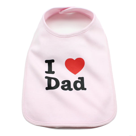I Heart Love Dad Newborn Baby Soft Cotton Bib