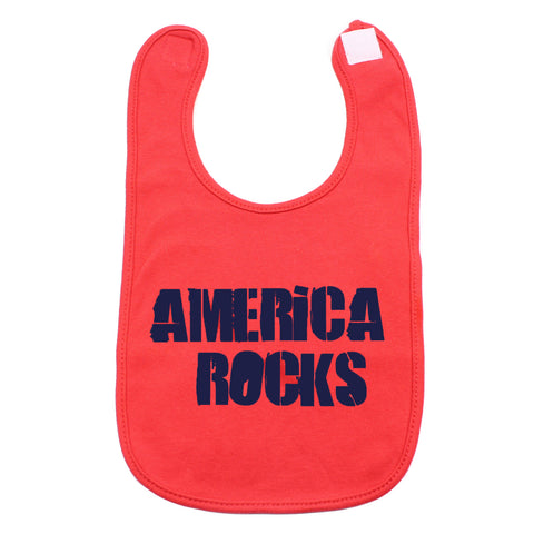 "Navy Blue ""America Rocks""  4th of July Unisex Newborn Baby Soft Cotton Bib"