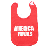 "White ""America Rocks""  4th of July Unisex Newborn Baby Soft Cotton Bib"