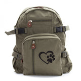 Heart With Dog Paw Puppy Love Teardrop Backpack with Leather Bottom Accents