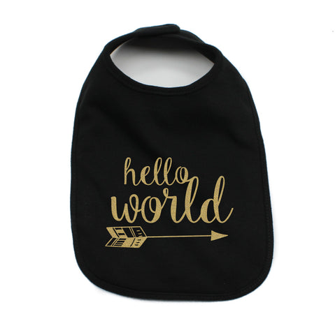 Hello World Unisex NB Soft 100% Cotton Bibs