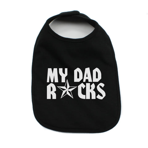 Father's Day My Dad Rocks! Star Unisex Newborn Baby Soft 100% Cotton Bibs