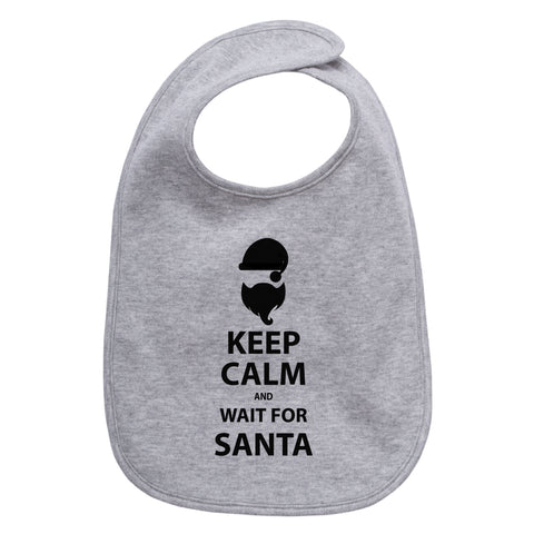 Christmas Keep and Calm Wait For Santa Cotton Infant Bib