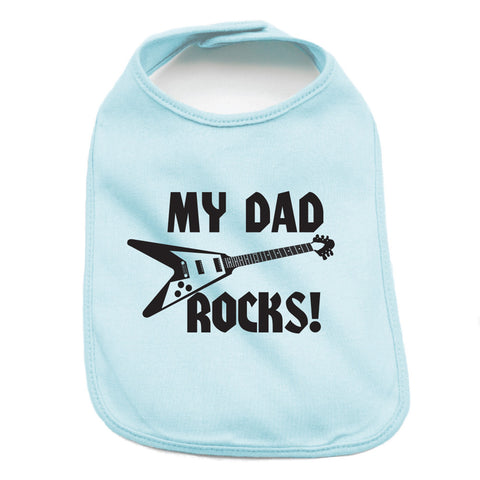 Father's Day My Dad Rocks! Guitar Unisex Newborn Baby Soft 100% Cotton Bibs