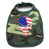 American Flag Punisher Skull Unisex Newborn Baby Soft 100% Cotton Bibs