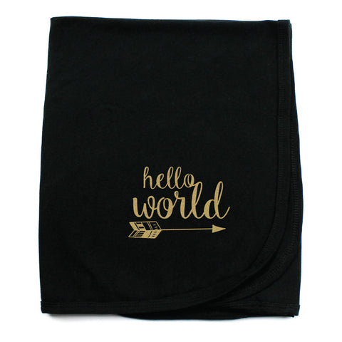 Hello World Soft Cotton Swaddling Receiving Blanket, Black