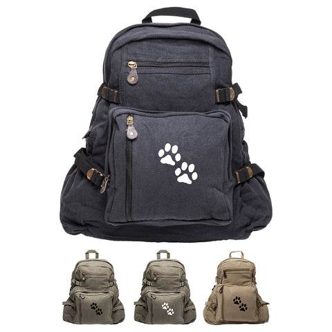 Puppy Dog Paws Print Canvas Kids Backpack Durable School Bag