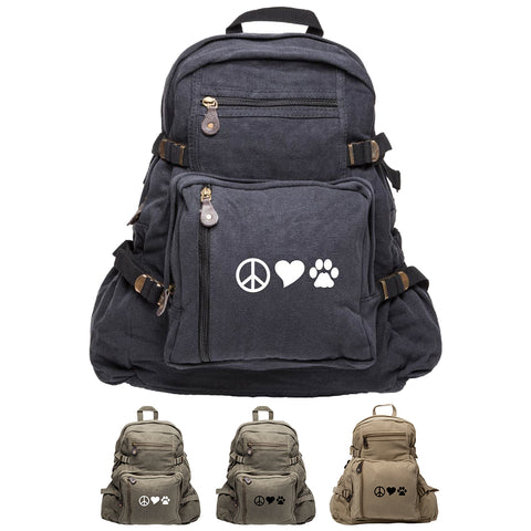 Peace Sign Heart Dog Paw Print Army Sport Heavyweight Canvas Backpack Bag