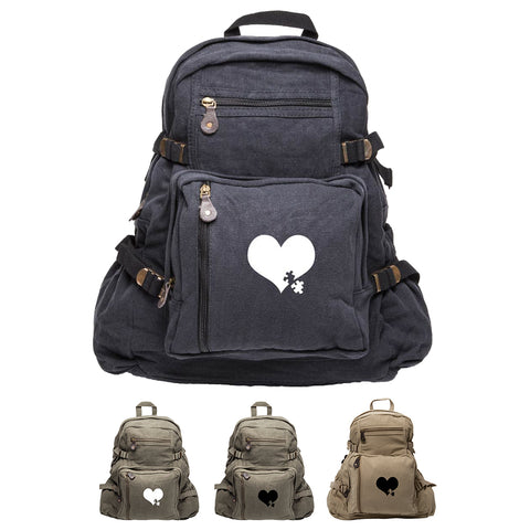 Autism Awareness Heart Puzzle Army Sport Heavyweight Canvas Backpack Bag