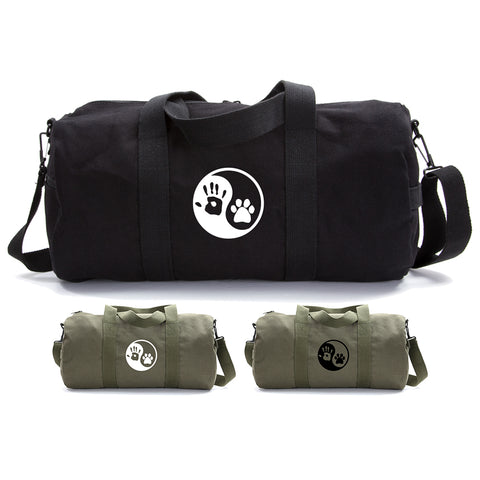 Yin Yang Puppy Dog Paws Hand Print Duffle Bag Gym Duffel