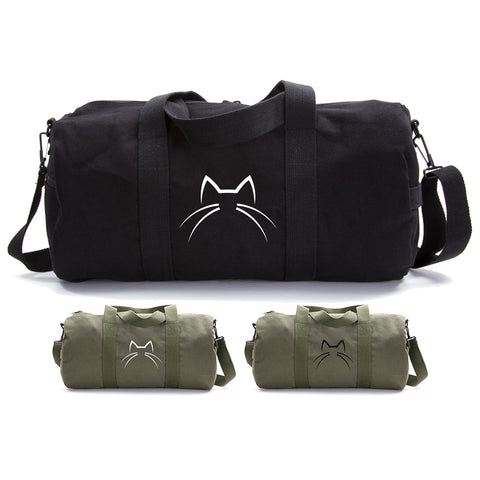 Kitty Cat Ears Whiskers Face Duffle Bag Army Style School Sports Gym Duffel Tote